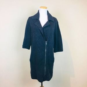 NEW Ann Taylor Factory Gray Knit Tunic Moto Zip Wool Jacket XS 3/4 Sleeve